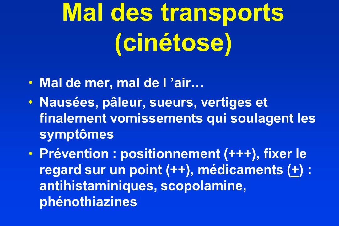 Mal des transports (cinétose) Mal de mer, mal de l air… Nausées, pâleur, sueurs, vertiges et finalement vomissements qui soulagent les symptômes Préve