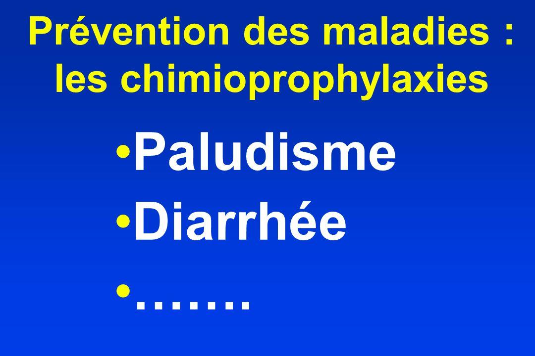 Prévention des maladies : les chimioprophylaxies Paludisme Diarrhée …….