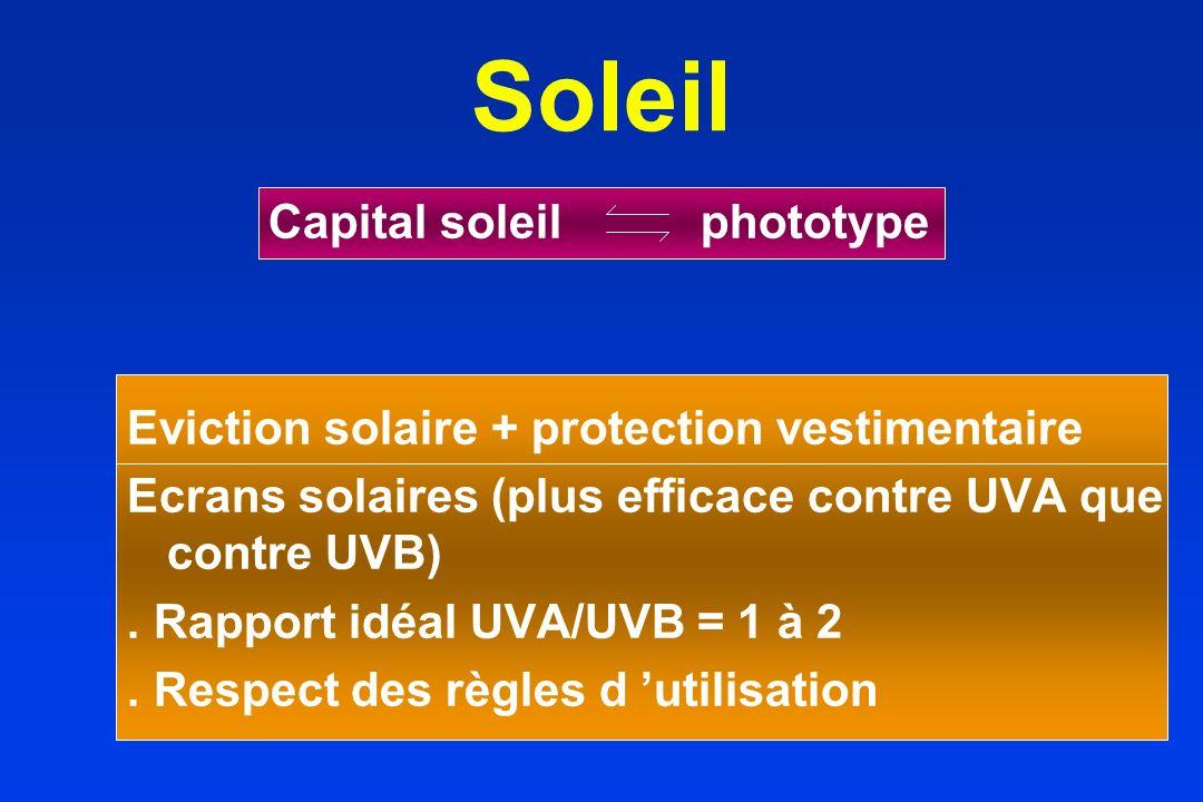 Soleil Capital soleil phototype Eviction solaire + protection vestimentaire Ecrans solaires (plus efficace contre UVA que contre UVB). Rapport idéal U