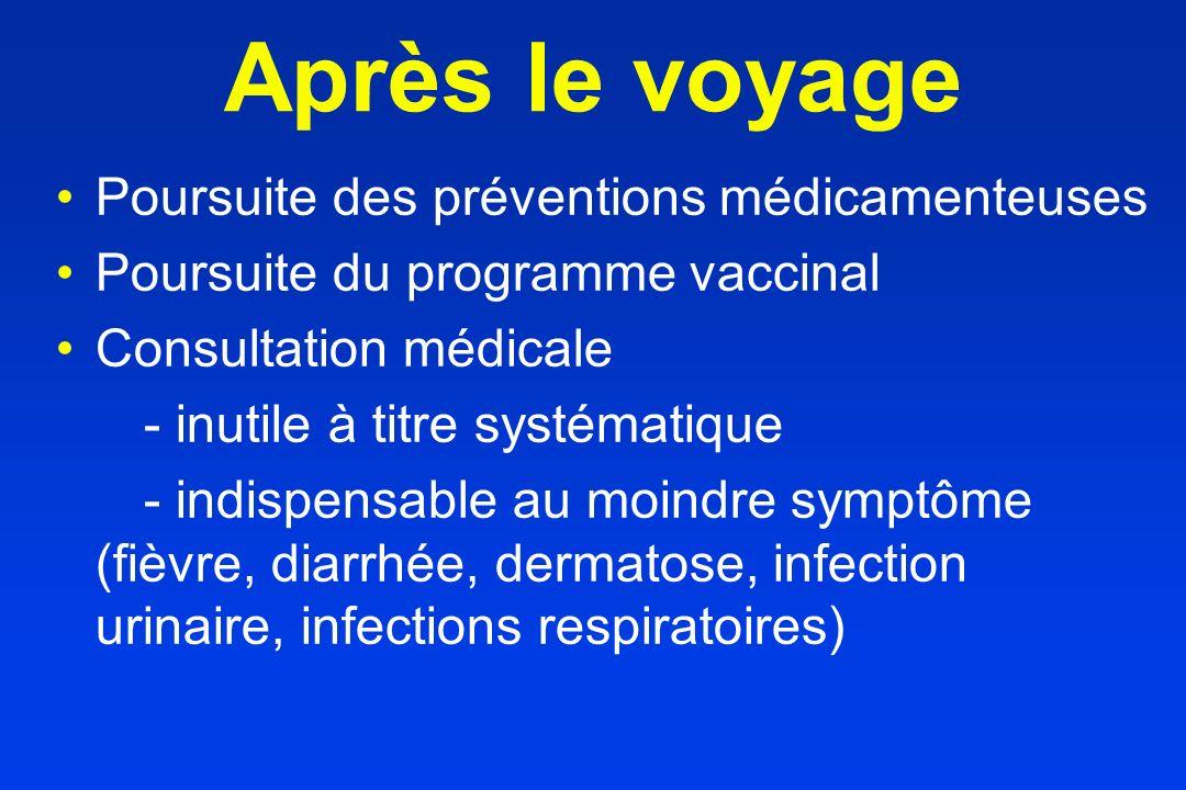 Après le voyage Poursuite des préventions médicamenteuses Poursuite du programme vaccinal Consultation médicale - inutile à titre systématique - indis