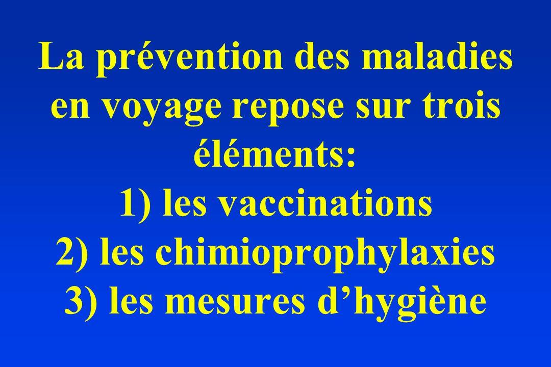 La prévention des maladies en voyage repose sur trois éléments: 1) les vaccinations 2) les chimioprophylaxies 3) les mesures dhygiène