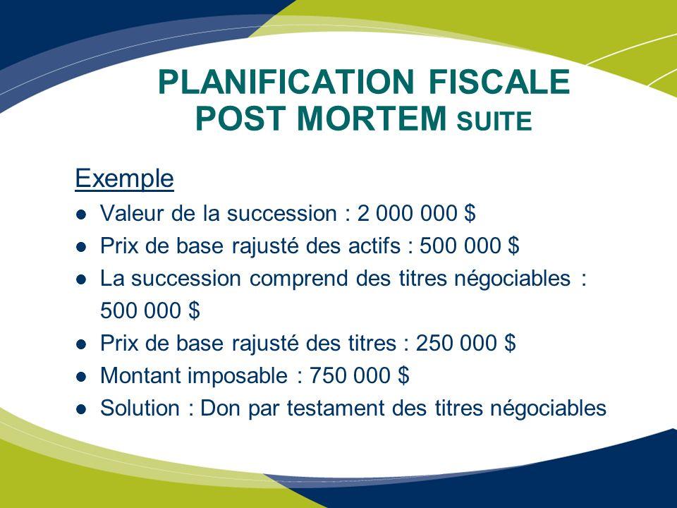 PLANIFICATION FISCALE POST MORTEM SUITE Exemple Valeur de la succession : 2 000 000 $ Prix de base rajusté des actifs : 500 000 $ La succession compre