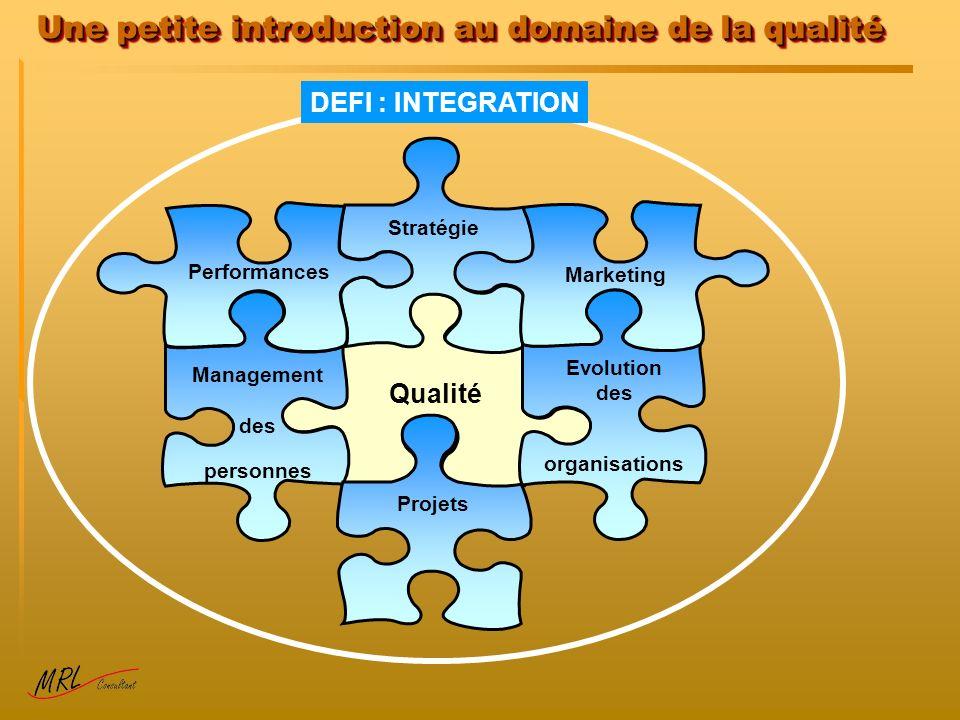 Une petite introduction au domaine de la qualité Qualité Stratégie Management des personnes Performances Evolution des organisations Marketing Projets DEFI : INTEGRATION