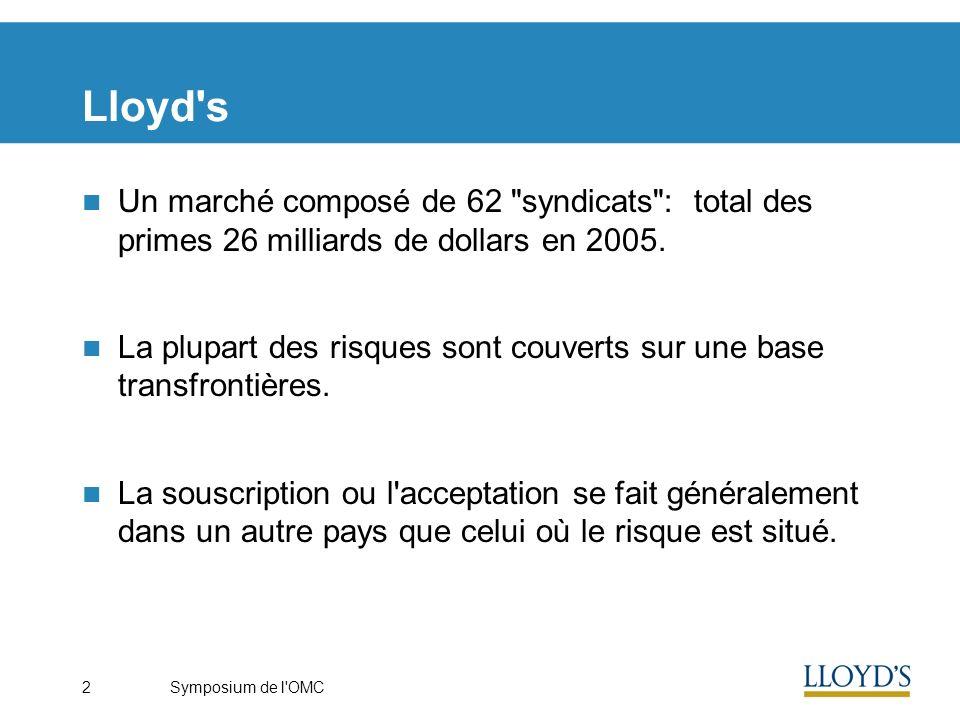 Symposium de l OMC2 Lloyd s Un marché composé de 62 syndicats : total des primes 26 milliards de dollars en 2005.