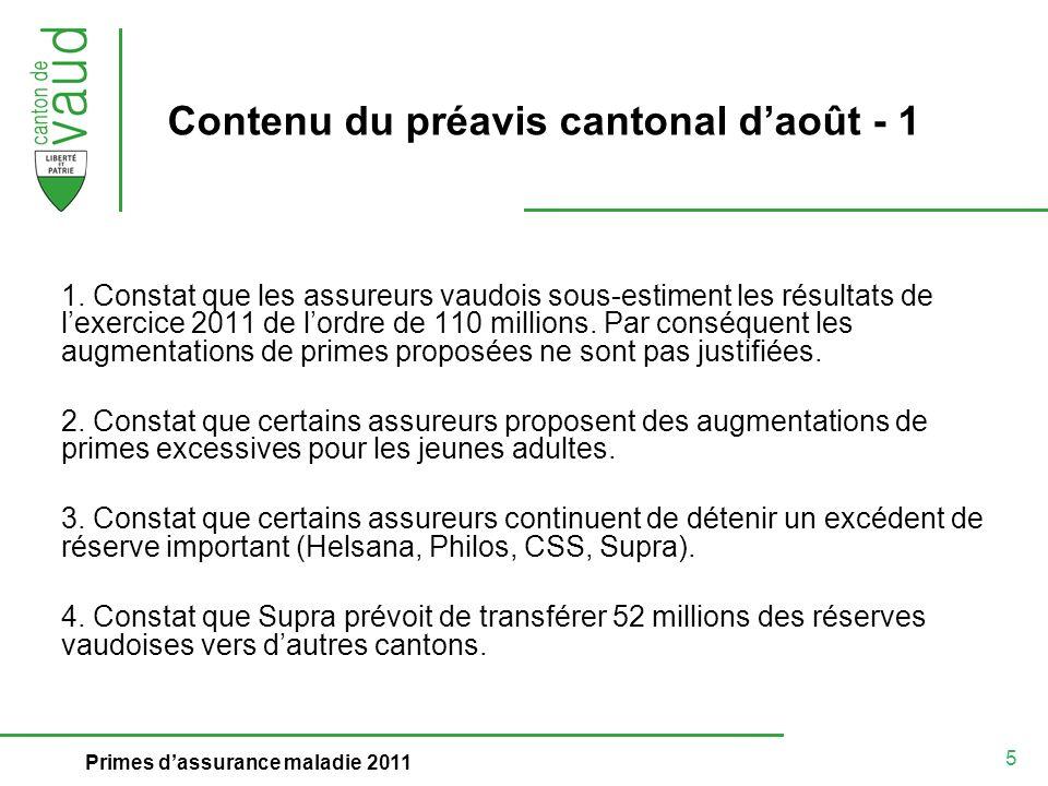5 Primes dassurance maladie 2011 Contenu du préavis cantonal daoût - 1 1. Constat que les assureurs vaudois sous-estiment les résultats de lexercice 2