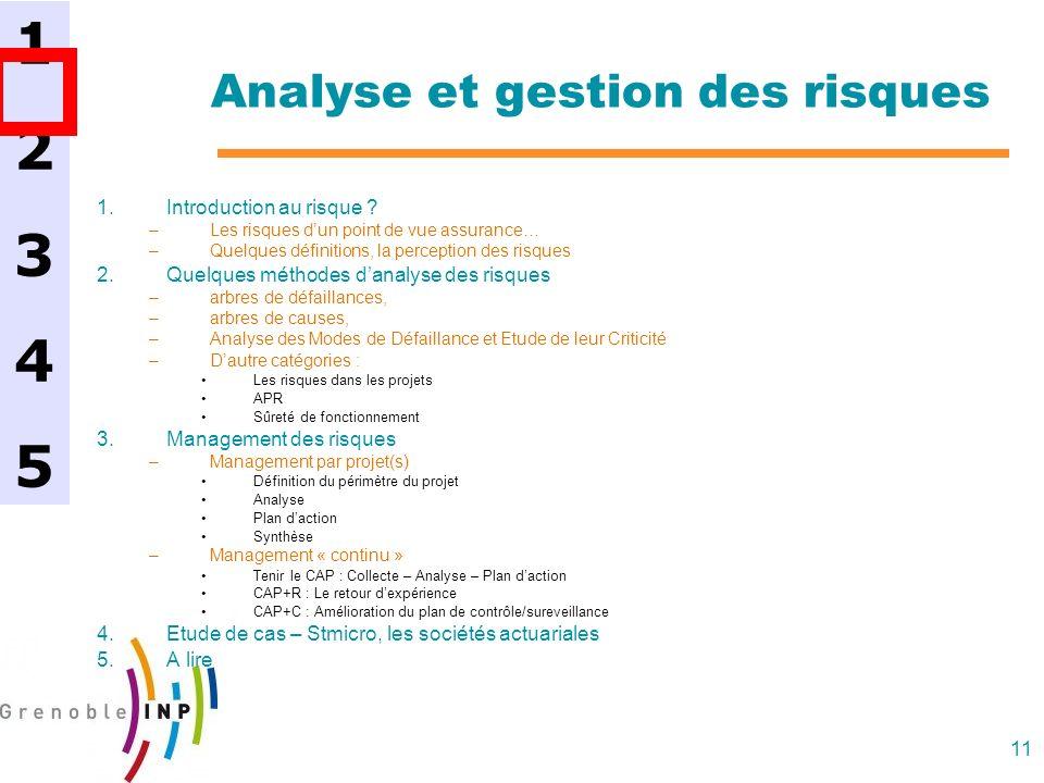 11 Analyse et gestion des risques 1.Introduction au risque ? –Les risques dun point de vue assurance… –Quelques définitions, la perception des risques