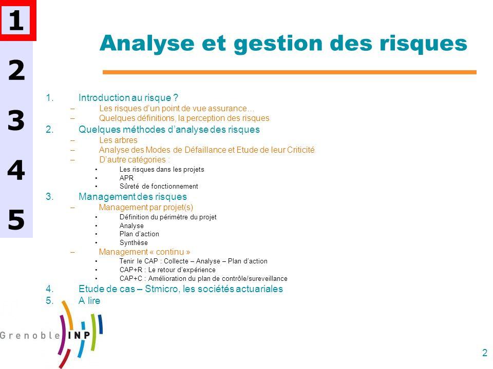 2 Analyse et gestion des risques 1.Introduction au risque ? –Les risques dun point de vue assurance… –Quelques définitions, la perception des risques