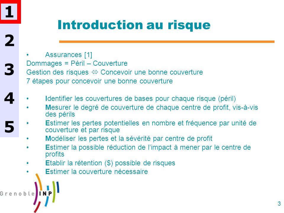 3 Introduction au risque Assurances [1] Dommages = Péril – Couverture Gestion des risques Concevoir une bonne couverture 7 étapes pour concevoir une b