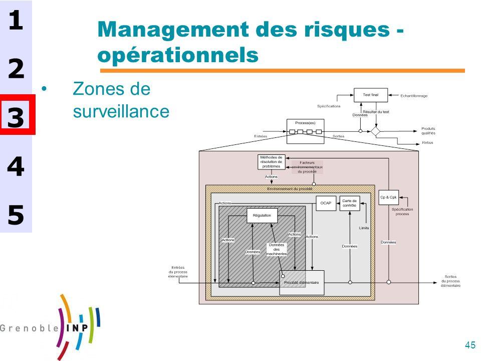 45 Management des risques - opérationnels Zones de surveillance 1234512345