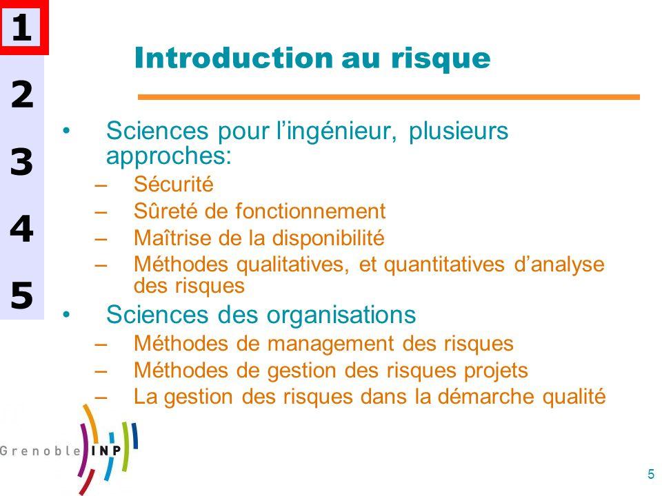 5 Introduction au risque Sciences pour lingénieur, plusieurs approches: –Sécurité –Sûreté de fonctionnement –Maîtrise de la disponibilité –Méthodes qu