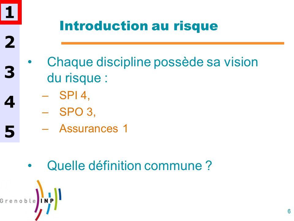 6 Introduction au risque Chaque discipline possède sa vision du risque : –SPI 4, –SPO 3, –Assurances 1 Quelle définition commune ? 1234512345