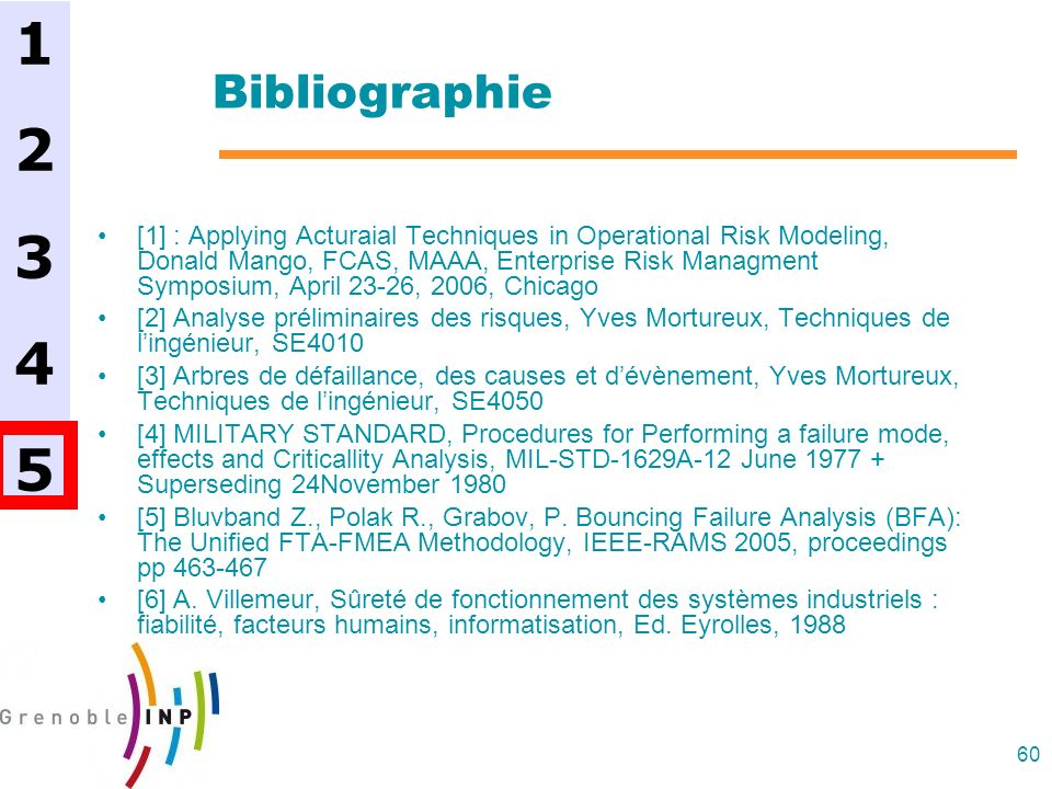 60 Bibliographie [1] : Applying Acturaial Techniques in Operational Risk Modeling, Donald Mango, FCAS, MAAA, Enterprise Risk Managment Symposium, April 23-26, 2006, Chicago [2] Analyse préliminaires des risques, Yves Mortureux, Techniques de lingénieur, SE4010 [3] Arbres de défaillance, des causes et dévènement, Yves Mortureux, Techniques de lingénieur, SE4050 [4] MILITARY STANDARD, Procedures for Performing a failure mode, effects and Criticallity Analysis, MIL-STD-1629A-12 June 1977 + Superseding 24November 1980 [5] Bluvband Z., Polak R., Grabov, P.
