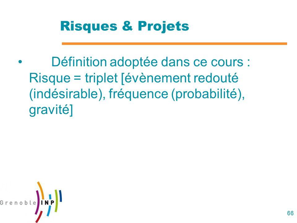 66 Risques & Projets Définition adoptée dans ce cours : Risque = triplet [évènement redouté (indésirable), fréquence (probabilité), gravité]
