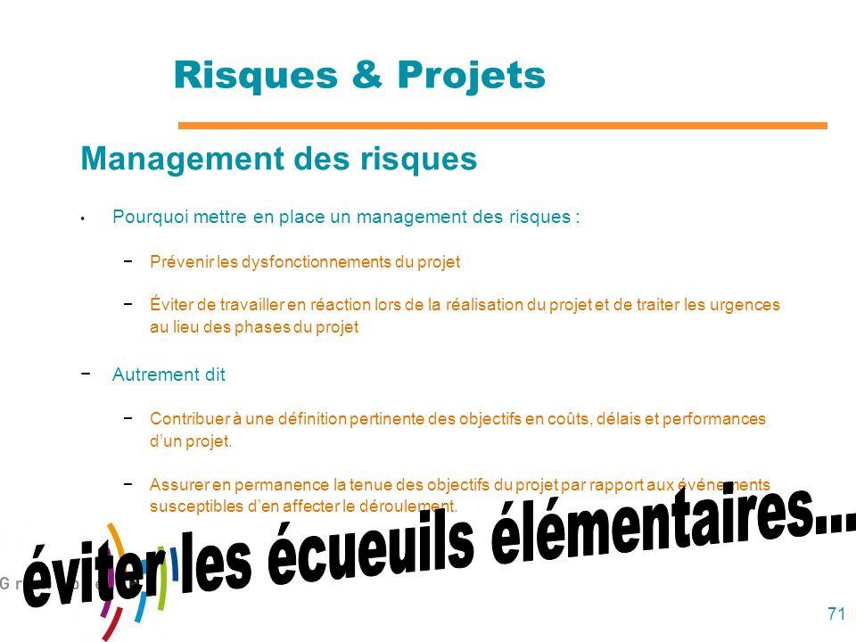 71 Management des risques Pourquoi mettre en place un management des risques : Prévenir les dysfonctionnements du projet Éviter de travailler en réact