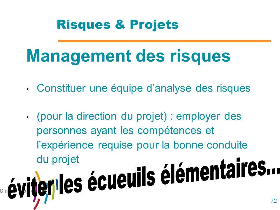 72 Management des risques Constituer une équipe danalyse des risques (pour la direction du projet) : employer des personnes ayant les compétences et l