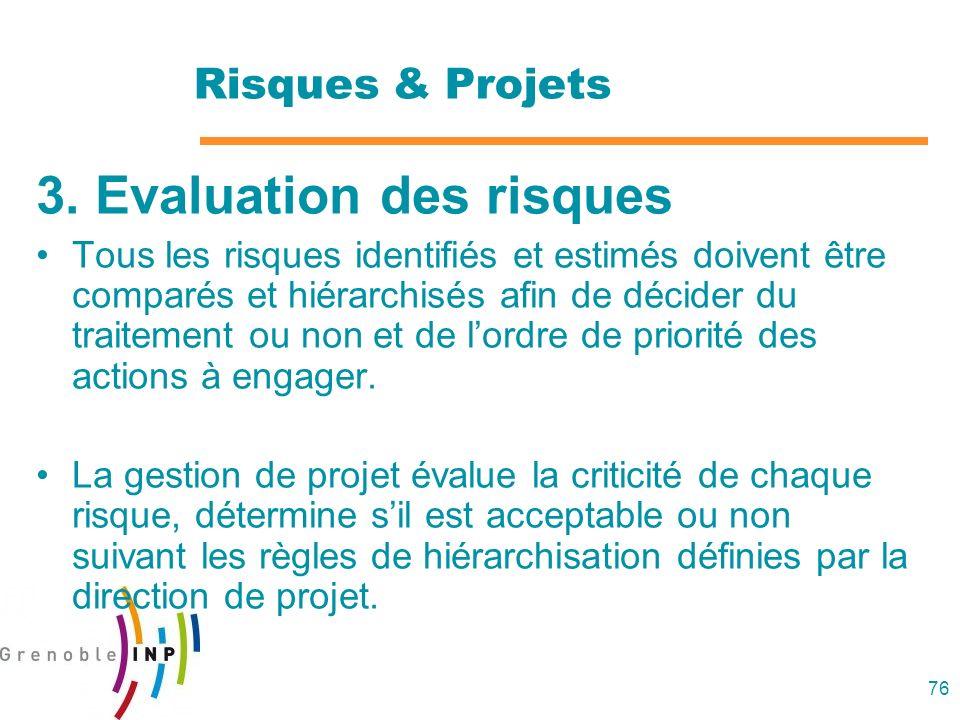 76 Risques & Projets 3. Evaluation des risques Tous les risques identifiés et estimés doivent être comparés et hiérarchisés afin de décider du traitem