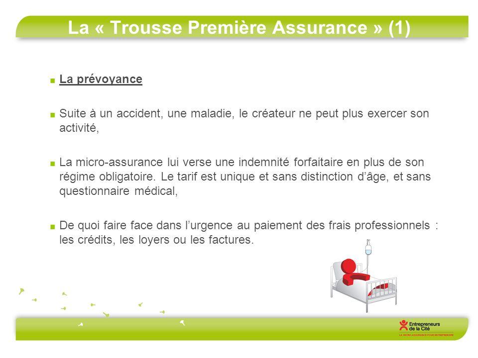 La « Trousse Première Assurance » (1) La prévoyance Suite à un accident, une maladie, le créateur ne peut plus exercer son activité, La micro-assuranc