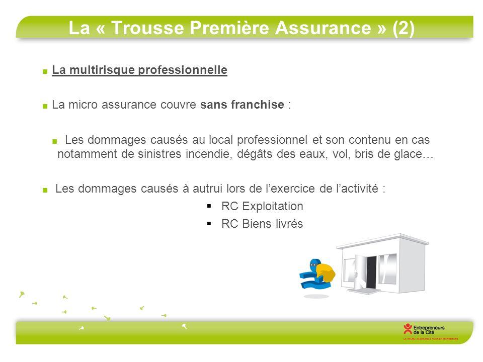La « Trousse Première Assurance » (2) La multirisque professionnelle La micro assurance couvre sans franchise : Les dommages causés au local professio