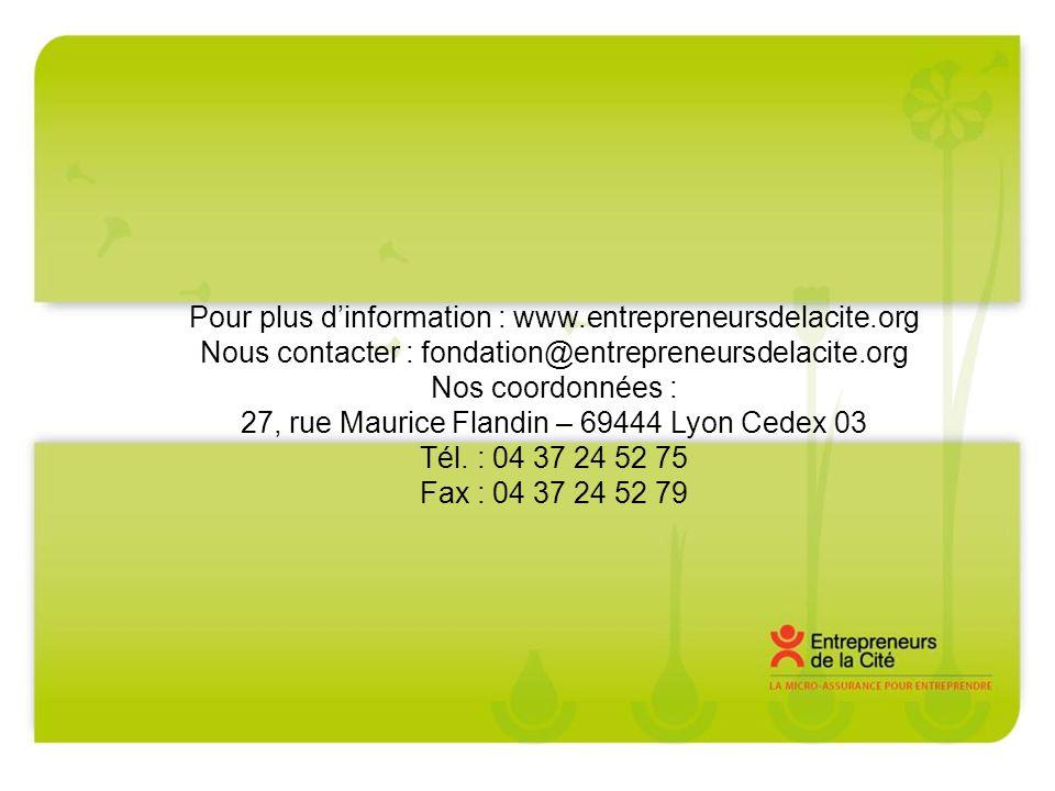 Pour plus dinformation : www.entrepreneursdelacite.org Nous contacter : fondation@entrepreneursdelacite.org Nos coordonnées : 27, rue Maurice Flandin – 69444 Lyon Cedex 03 Tél.