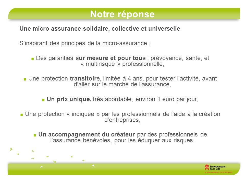 Notre réponse Une micro assurance solidaire, collective et universelle Sinspirant des principes de la micro-assurance : Des garanties sur mesure et po
