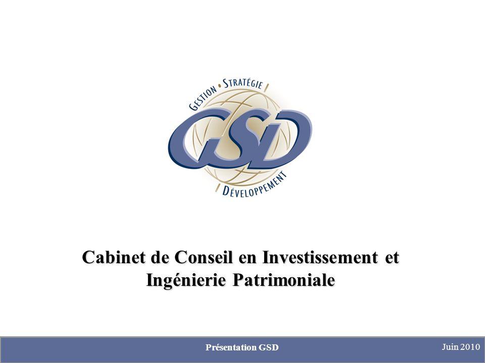 Cabinet de Conseil en Investissement et Ingénierie Patrimoniale Présentation GSD Juin 2010