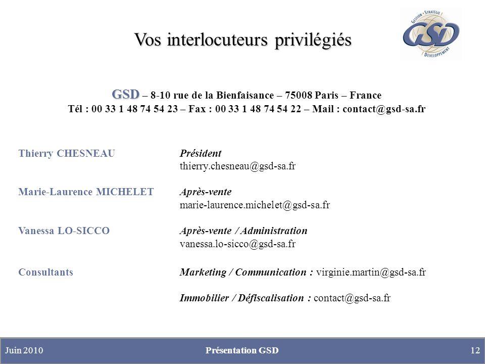 Vos interlocuteurs privilégiés Juin 2010Présentation GSD12 Thierry CHESNEAUPrésident thierry.chesneau@gsd-sa.fr Marie-Laurence MICHELETAprès-vente mar