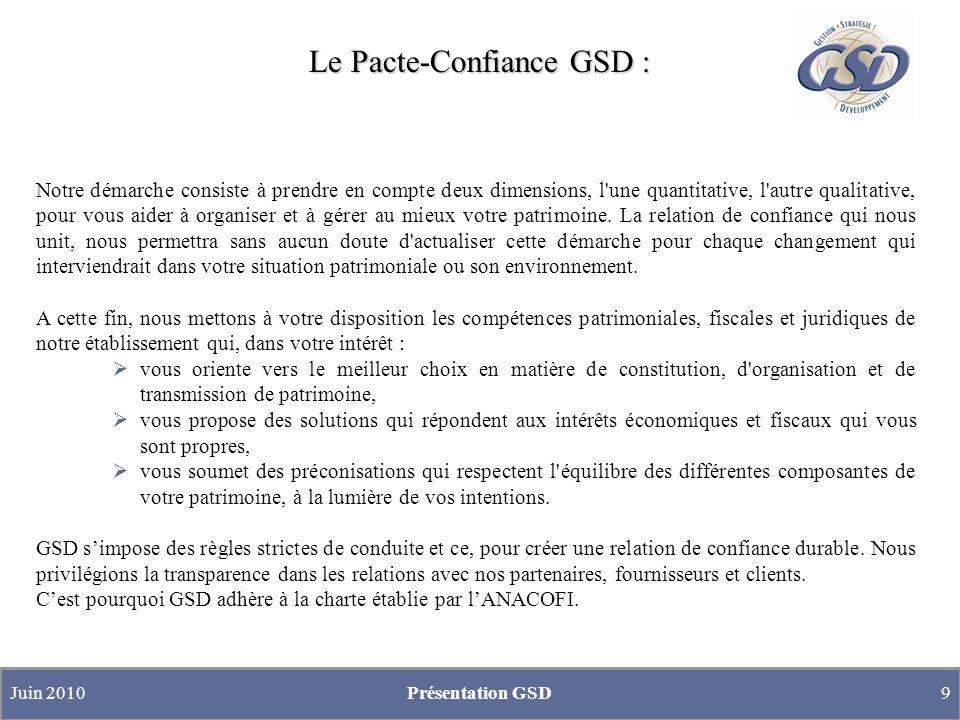 Le Pacte-Confiance GSD : Juin 2010Présentation GSD9 Notre démarche consiste à prendre en compte deux dimensions, l une quantitative, l autre qualitative, pour vous aider à organiser et à gérer au mieux votre patrimoine.