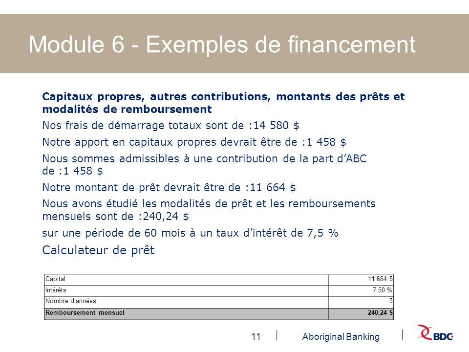 11Aboriginal Banking Module 6 - Exemples de financement Capitaux propres, autres contributions, montants des prêts et modalités de remboursement Nos f