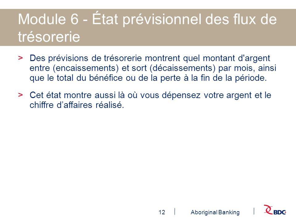 12Aboriginal Banking Module 6 - État prévisionnel des flux de trésorerie >Des prévisions de trésorerie montrent quel montant d'argent entre (encaissem