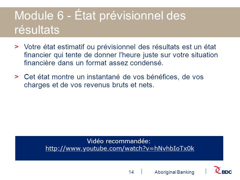 14Aboriginal Banking Module 6 - État prévisionnel des résultats >Votre état estimatif ou prévisionnel des résultats est un état financier qui tente de