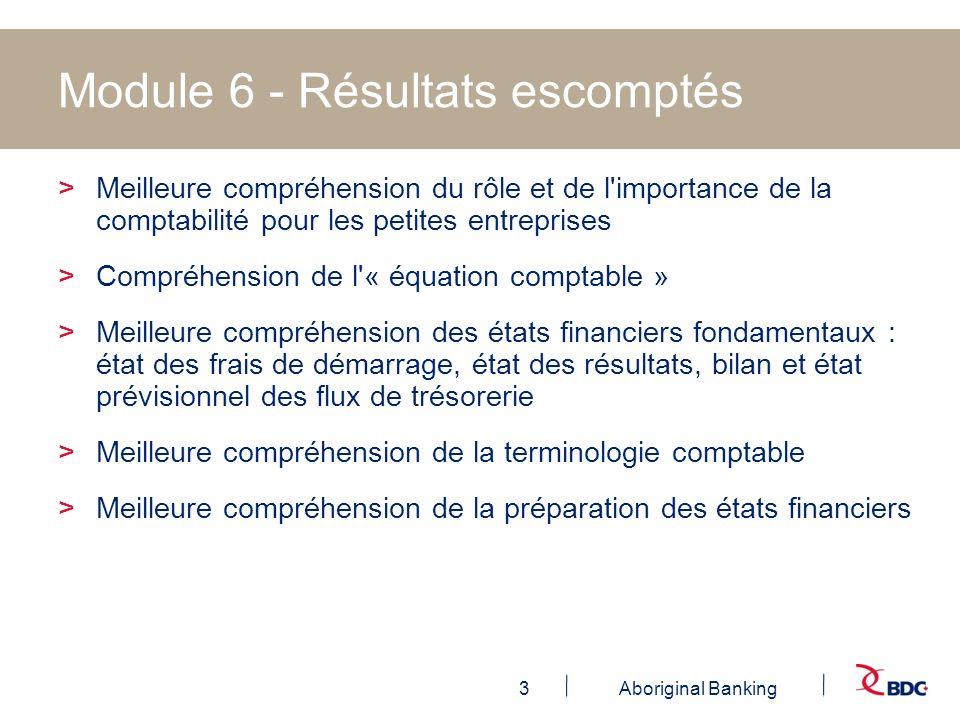 14Aboriginal Banking Module 6 - État prévisionnel des résultats >Votre état estimatif ou prévisionnel des résultats est un état financier qui tente de donner l heure juste sur votre situation financière dans un format assez condensé.