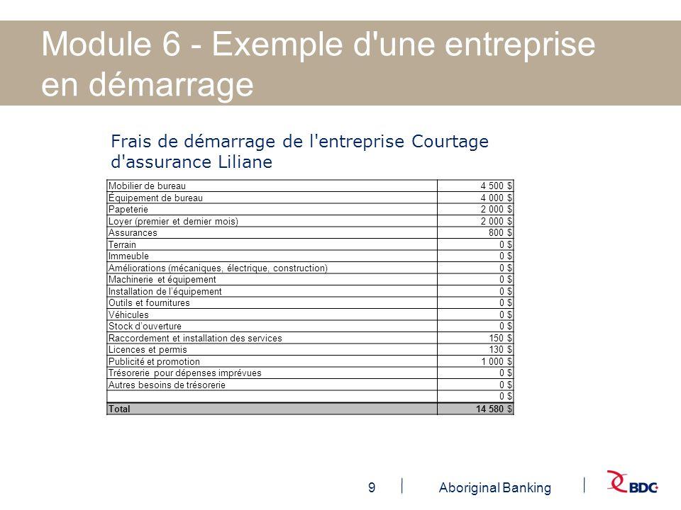 9Aboriginal Banking Module 6 - Exemple d'une entreprise en démarrage Frais de démarrage de l'entreprise Courtage d'assurance Liliane Mobilier de burea