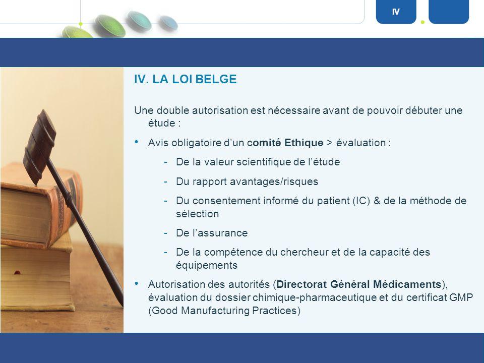 IV. LA LÉGISLATION Il existe une loi belge relative à « lexpérimentation sur la personne humaine » du 7 mai 2004. Cette loi sapplique à toute forme dé