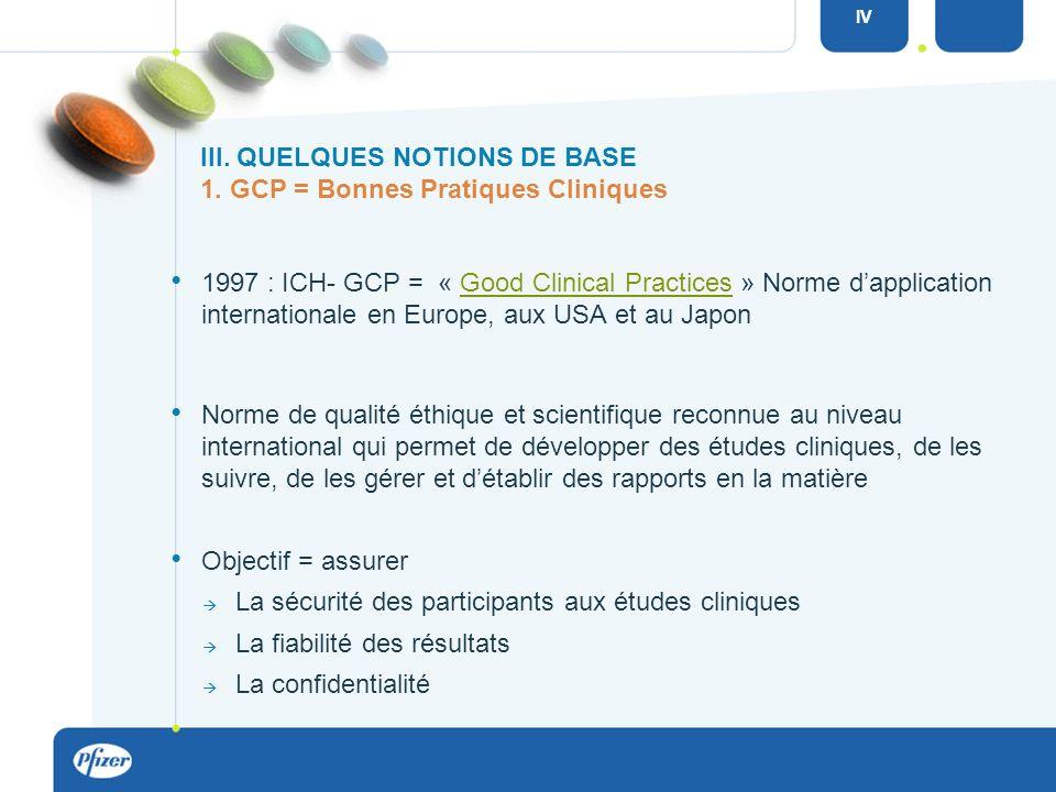 III. QUELQUES NOTIONS DE BASE GCP : Good Clinical Practice (bonnes pratiques cliniques) IC : Informed Consent = consentement éclairé EC : Comité déthi