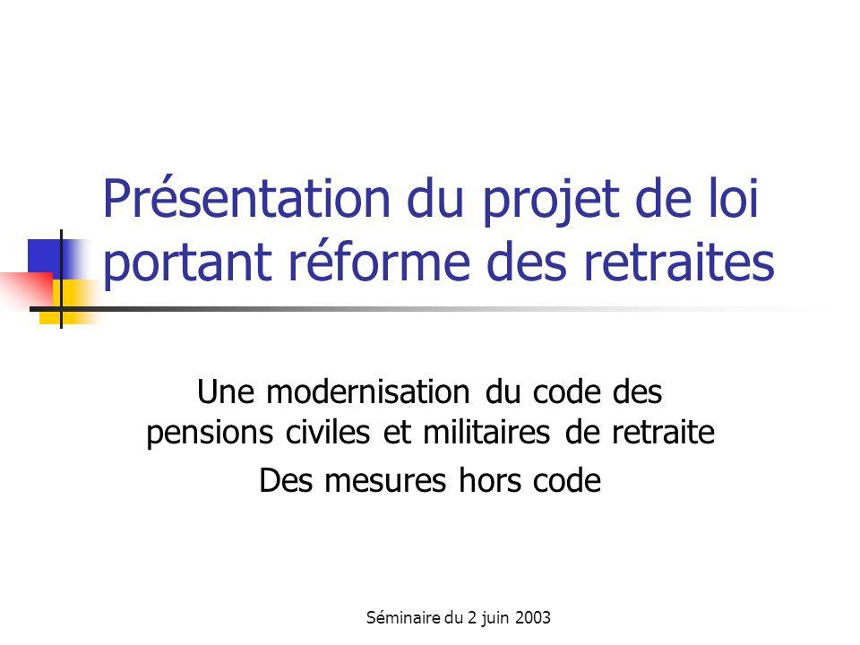 Séminaire du 2 juin 2003 Présentation du projet de loi portant réforme des retraites Une modernisation du code des pensions civiles et militaires de retraite Des mesures hors code