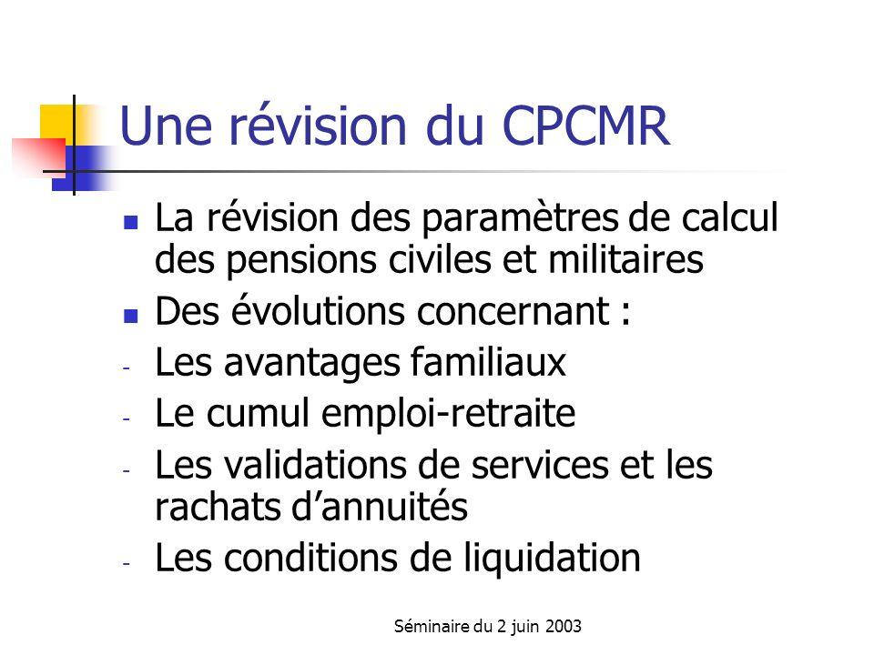 Séminaire du 2 juin 2003 La révision des paramètres de calcul des pensions Durée de liquidation : L.