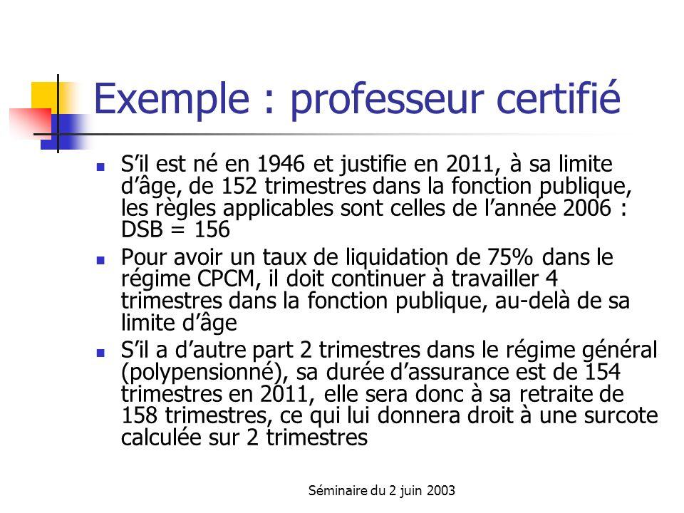 Séminaire du 2 juin 2003 Exemple : professeur certifié Sil est né en 1946 et justifie en 2011, à sa limite dâge, de 152 trimestres dans la fonction publique, les règles applicables sont celles de lannée 2006 : DSB = 156 Pour avoir un taux de liquidation de 75% dans le régime CPCM, il doit continuer à travailler 4 trimestres dans la fonction publique, au-delà de sa limite dâge Sil a dautre part 2 trimestres dans le régime général (polypensionné), sa durée dassurance est de 154 trimestres en 2011, elle sera donc à sa retraite de 158 trimestres, ce qui lui donnera droit à une surcote calculée sur 2 trimestres