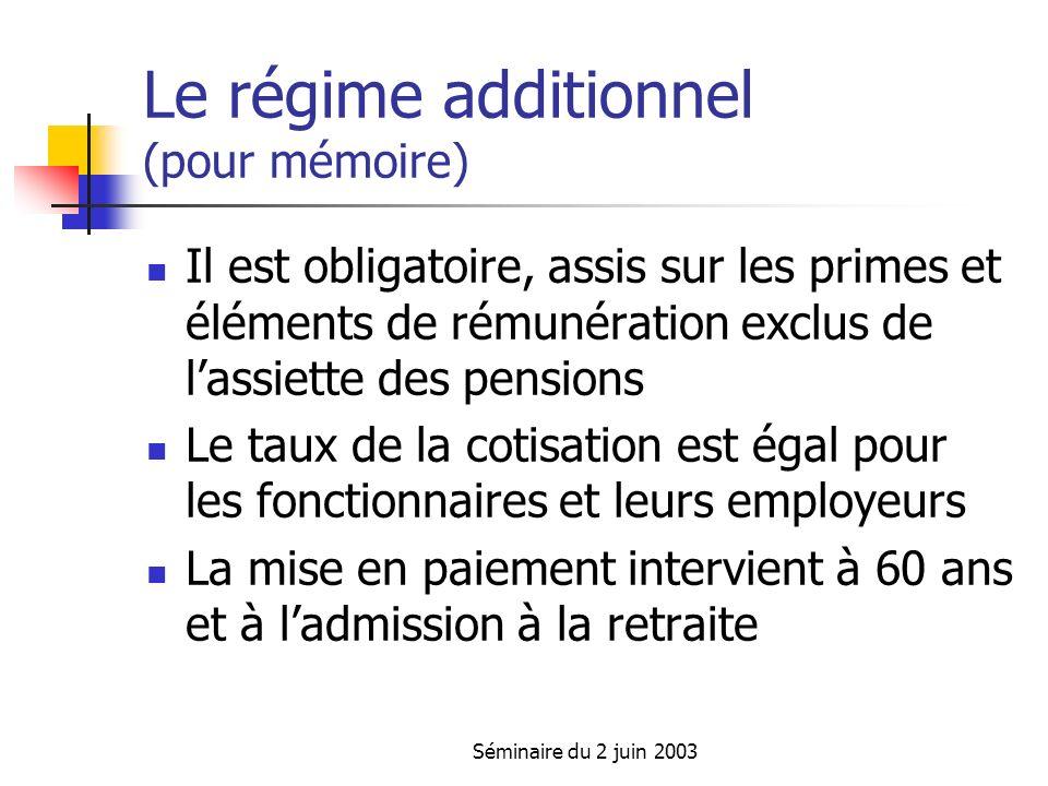 Séminaire du 2 juin 2003 Le régime additionnel (pour mémoire) Il est obligatoire, assis sur les primes et éléments de rémunération exclus de lassiette des pensions Le taux de la cotisation est égal pour les fonctionnaires et leurs employeurs La mise en paiement intervient à 60 ans et à ladmission à la retraite