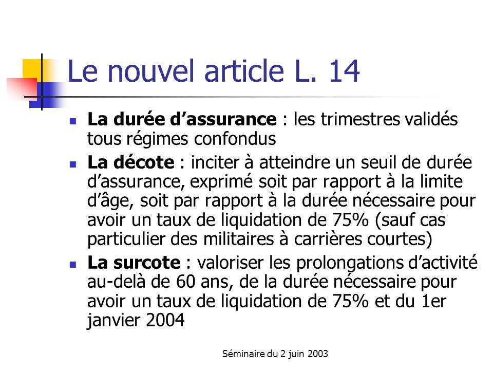 Séminaire du 2 juin 2003 La décote (coefficient de minoration) La formule de calcul : [ N/DSB x 75% x T ] x [1 - (Co% x d) ] Les règles applicables sont celles de lannée douverture des droits Si lannée douverture des droits est 2004, DSB = 152, Co = 0 Si lannée douverture des droits est 2008, DSB = 160, Co = 0,375 et d ne peut pas dépasser 8 Si lannée douverture des droits est 2012, DSB = 164, Co = 0,875 et d ne peut pas dépasser 12 Comment calculer d ?