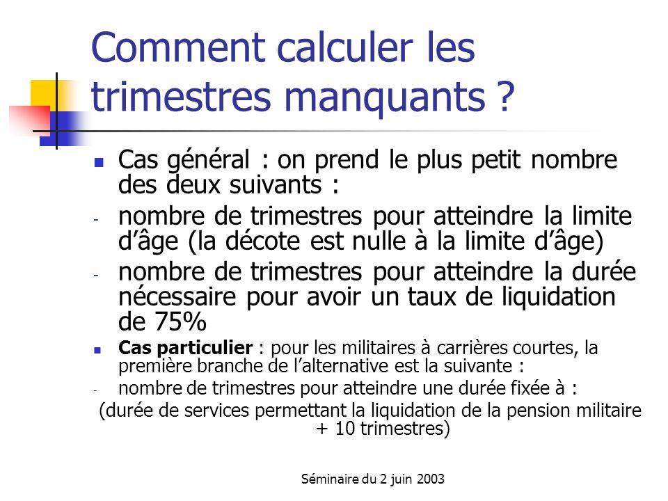 Séminaire du 2 juin 2003 Comment calculer les trimestres manquants .