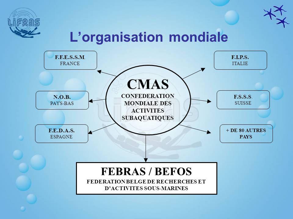 F.F.E.S.S.M. FRANCE CMAS CONFEDERATION MONDIALE DES ACTIVITES SUBAQUATIQUES N.O.B. PAYS-BAS F.E.D.A.S. ESPAGNE + DE 80 AUTRES PAYS F.S.S.S. SUISSE F.I