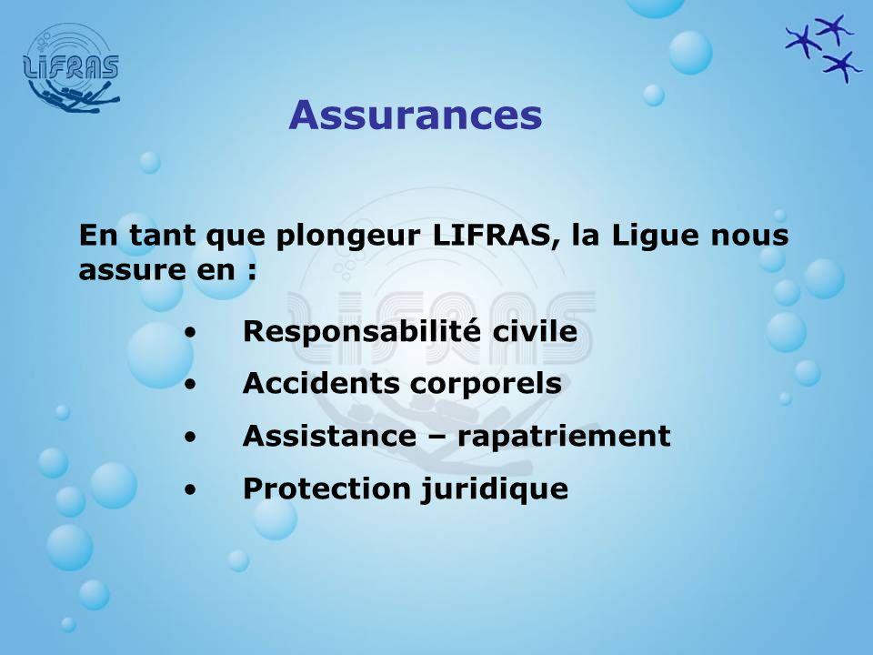 Assurances Responsabilité civile Accidents corporels Assistance – rapatriement Protection juridique En tant que plongeur LIFRAS, la Ligue nous assure