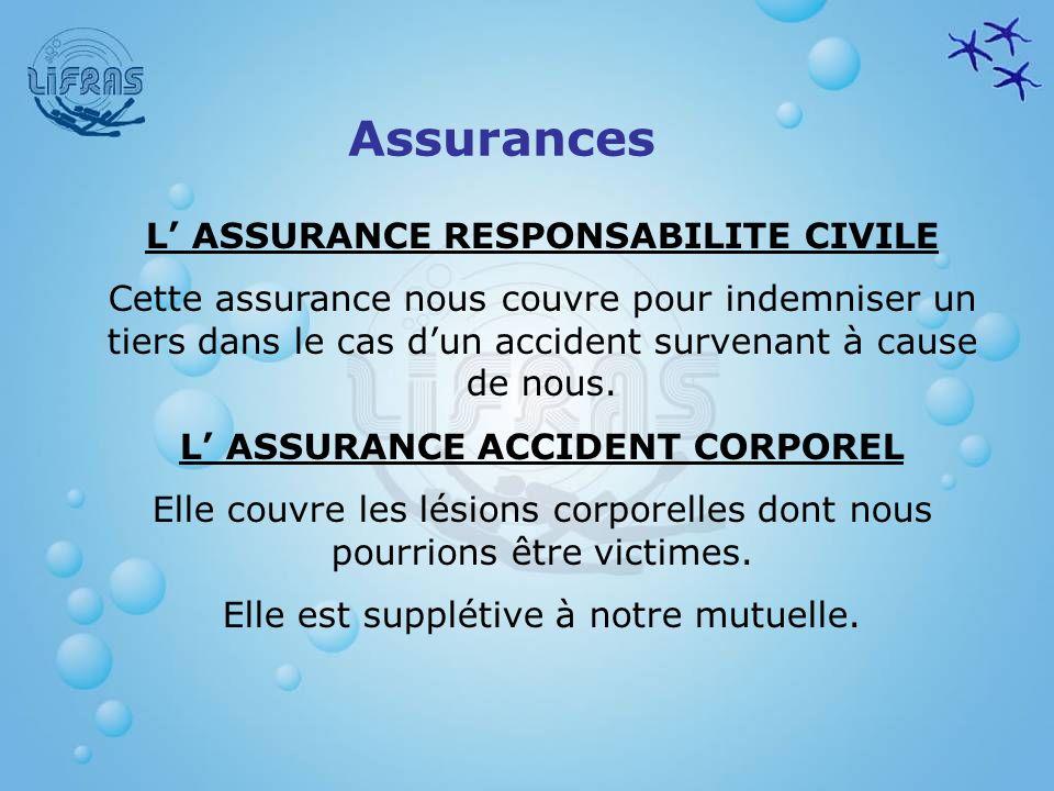 Assurances L ASSURANCE RESPONSABILITE CIVILE Cette assurance nous couvre pour indemniser un tiers dans le cas dun accident survenant à cause de nous.