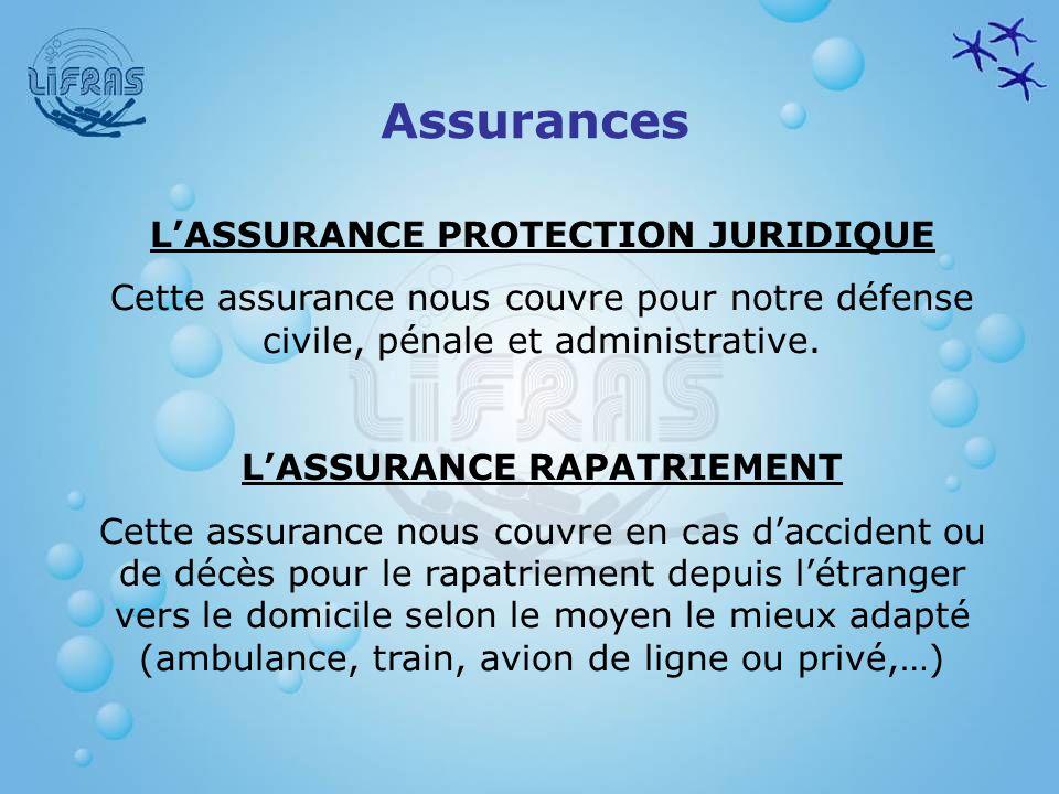 LASSURANCE PROTECTION JURIDIQUE Cette assurance nous couvre pour notre défense civile, pénale et administrative. LASSURANCE RAPATRIEMENT Cette assuran
