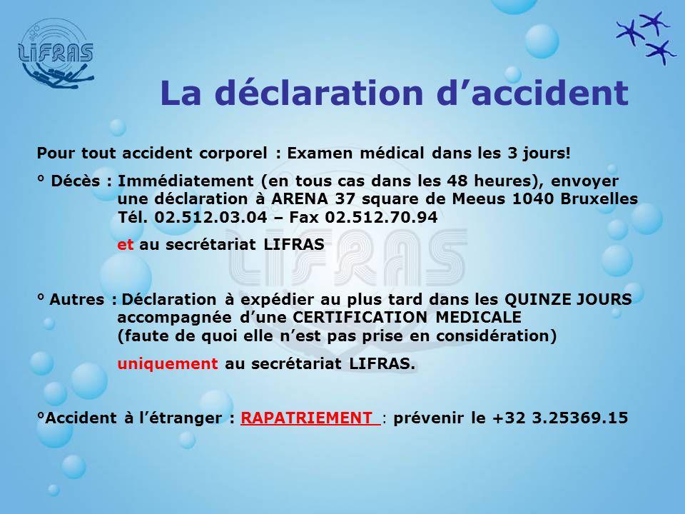 Pour tout accident corporel : Examen médical dans les 3 jours! ° Décès : Immédiatement (en tous cas dans les 48 heures), envoyer une déclaration à ARE