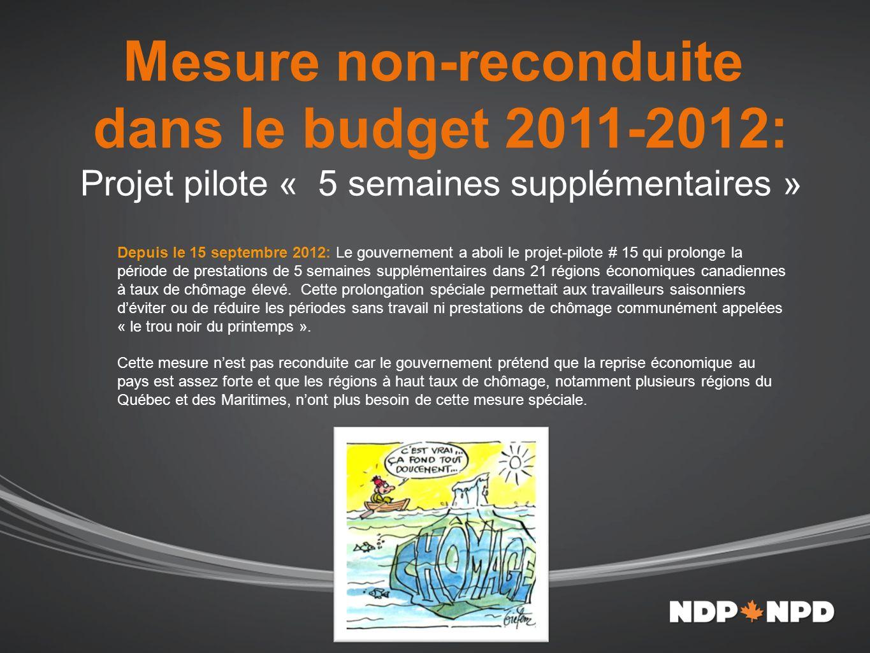 Mesure non-reconduite dans le budget 2011-2012: Projet pilote « 5 semaines supplémentaires » Depuis le 15 septembre 2012: Le gouvernement a aboli le projet-pilote # 15 qui prolonge la période de prestations de 5 semaines supplémentaires dans 21 régions économiques canadiennes à taux de chômage élevé.