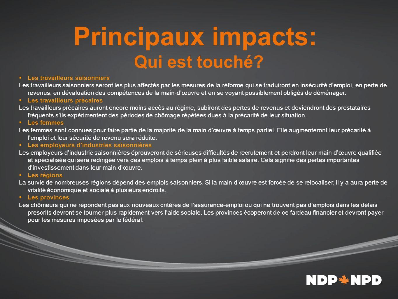 Principaux impacts: Qui est touché.