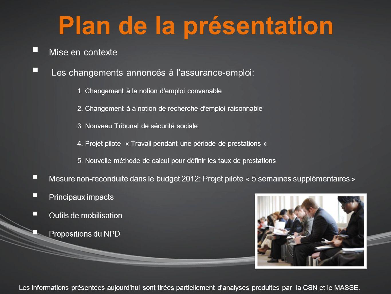 Mise en contexte 29 mars 2012: Dépôt du budget pour lannée 2012- 2013 (Projet de loi C-38).Plusieurs modifications au régime de lassurance-emploi y figurent.