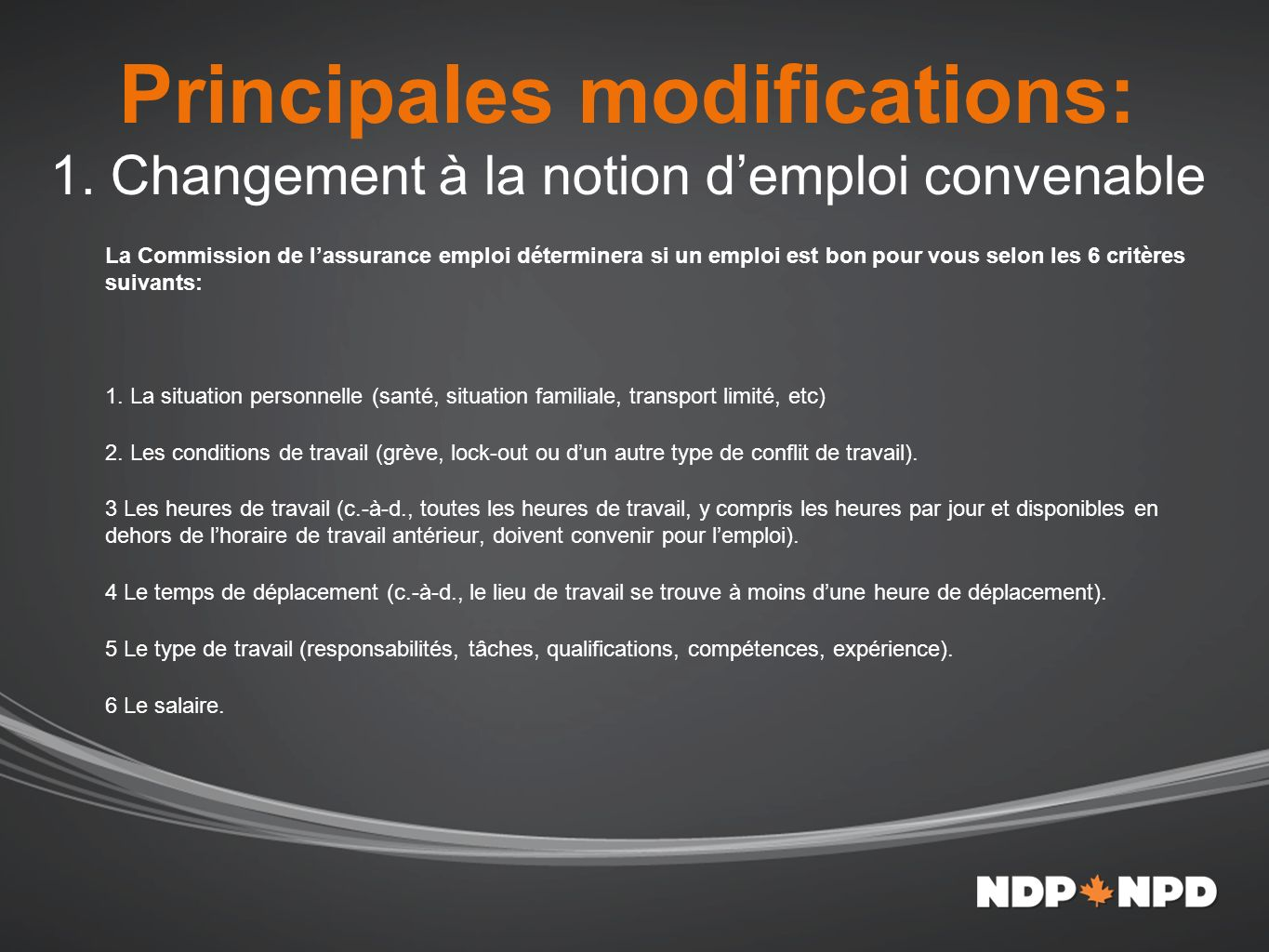 Principales modifications: 1.