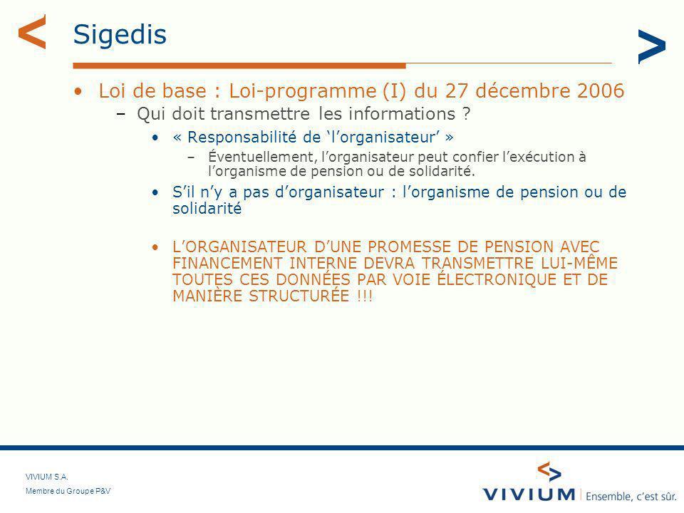 VIVIUM S.A. Membre du Groupe P&V Sigedis Loi de base : Loi-programme (I) du 27 décembre 2006 –Qui doit transmettre les informations ? « Responsabilité